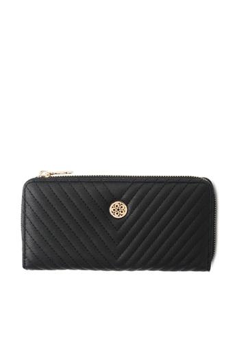 Wild Channel black Faux Leather Long Wallet 1D00EACBC0A24CGS_1