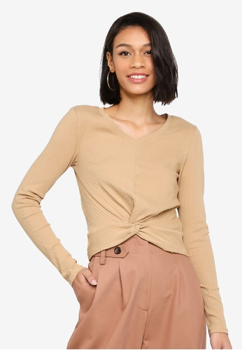 Joska Long Sleeve V-Neck Crop Top from Pieces in Brown