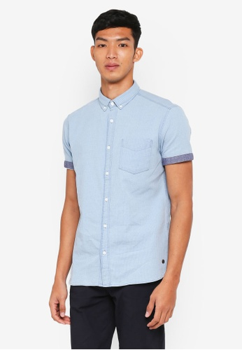 ESPRIT 藍色 Textured Short Sleeve Shirt 41DCBAA5CFFC58GS_1