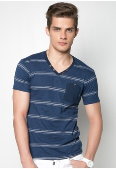 Slim Fit Stripes Tee with Front Pocket