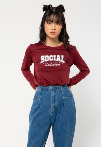 COLORBOX red Social Distance Long Sleeves T-shirt EC445AAABBA496GS_1