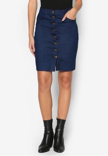 單排扣丹寧短裙,esprit分店 服飾, 裙子