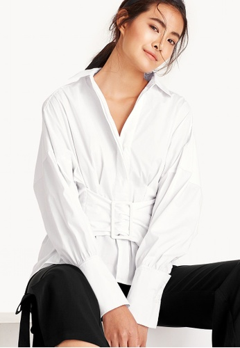Pomelo white Kamilla Belted Button Up Shirt AEED9AA4742BEFGS_1