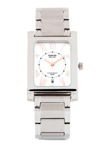 Casio BEM-100D-7A3VDF 不銹鋼方esprit手錶專櫃錶, 錶類, 不銹鋼錶帶