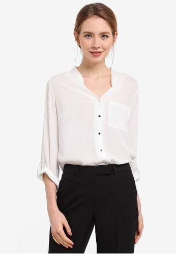 Dorothy Perkins white Ivory Notch Neck Roll Sleeve Shirt D3C0EAA78C7D78GS_1