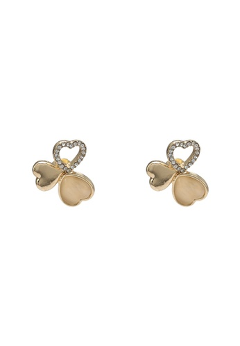 Saturation gold Clover Stud Earrings 0634DACF22C911GS_1