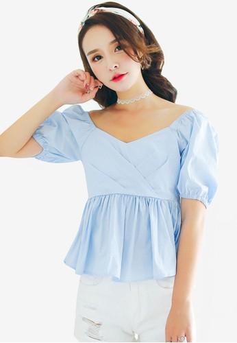 Shopsfashion blue Bubble Sleeve Blouse 24DA7AAAE33028GS_1