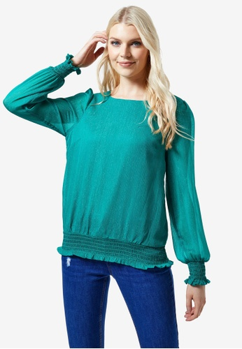 Dorothy Perkins green Turquoise Shirred Hem Lurex Top 5461AAAF7DA615GS_1