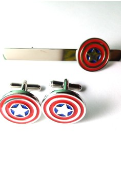Marvel Captain America Cuff Links and Tie Clip Set