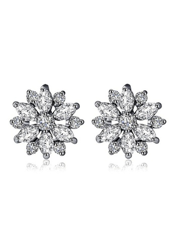 Vivere Rosse silver Daisy Dream Diamond Simulant Stud Earrings VI014AC87ZWAMY_1
