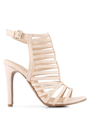 Something Borrowed beige Strappy Cut Out Heels 5E94DSHA2289D2GS_1
