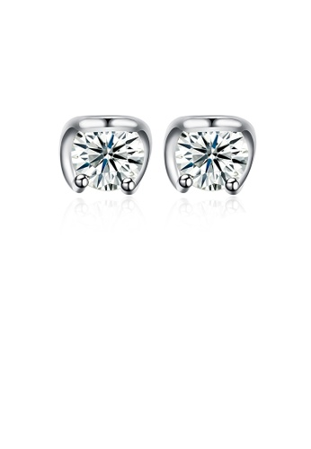 Glamorousky white 925 Sterling Silver Simple Mini Fashion Ear Studs and Earrings with Cubic Zircon B9353ACA01636EGS_1