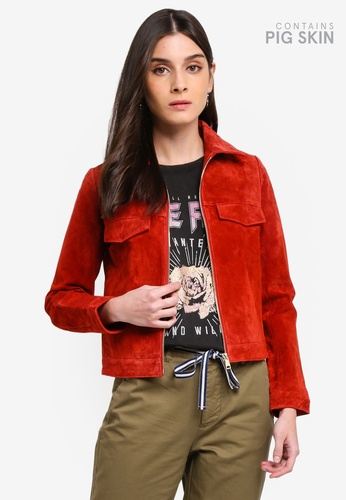 ONLY red Leah Short Suede Jacket 07932AAFD0D0DFGS_1