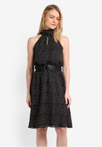 ZALORA black Tie Neck Keyhole Midi Dress 89B5DAABE68A7EGS_1