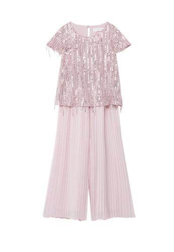 MANGO KIDS pink Pleated Sequin Jumpsuit EB721KA5282B4CGS_1