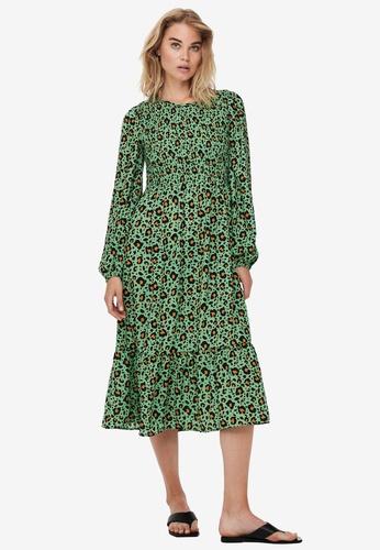 JACQUELINE DE YONG green Drew Life Long Sleeves Above Calf Dress D8A6EAAF5C4E8EGS_1