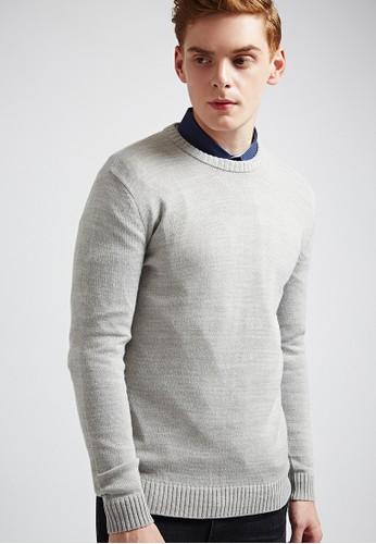 簡約經典。大地色系。圓領針織衫-MIT-esprit 內衣03622-淺花灰, 服飾, 外套
