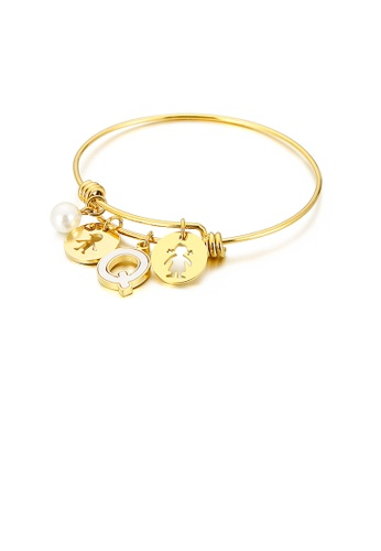 Glamorousky white Fashion Creative Plated Gold English Alphabet Q Round Cartoon Character 316L Stainless Steel Bangle with Imitation Pearls 30135AC2B3F5EDGS_1