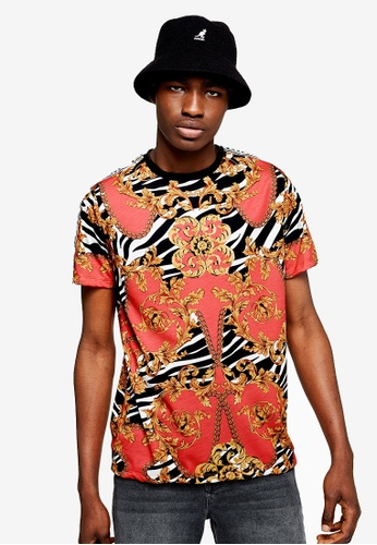 07e6002625a455 Buy Topman Red Baroque T-Shirt Online on ZALORA Singapore