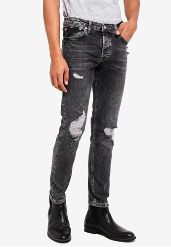 Topman black Washed Black Ripped Stretch Skinny Jeans 76E2AAA0553BB8GS_1