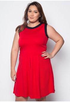 Plus Size Sleeveless Fit and Flare Dress