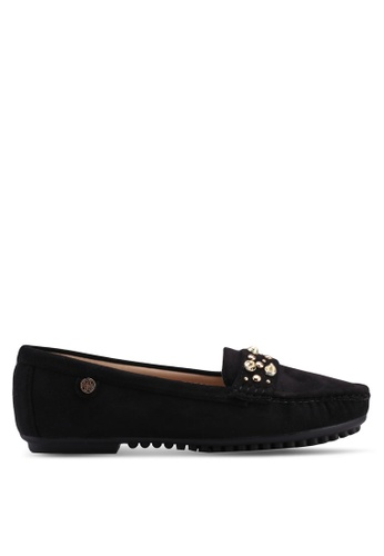 Carlton London black Faux Suede Loafers 8BE10SH3C2A1DDGS_1