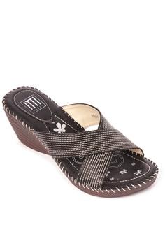 Criss Cross Wedge Sandals