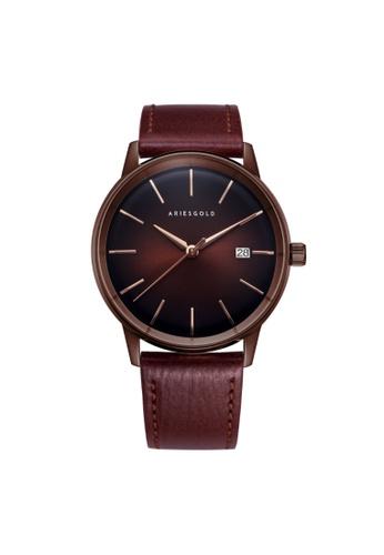 Aries Gold brown Aries Gold La Oro G 9026 CF-CF Coffee Leather Watch AB56DACA2B1206GS_1