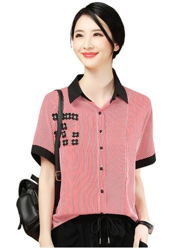 A-IN GIRLS red Fashion Striped Chiffon Blouse 34C03AA0C88687GS_1