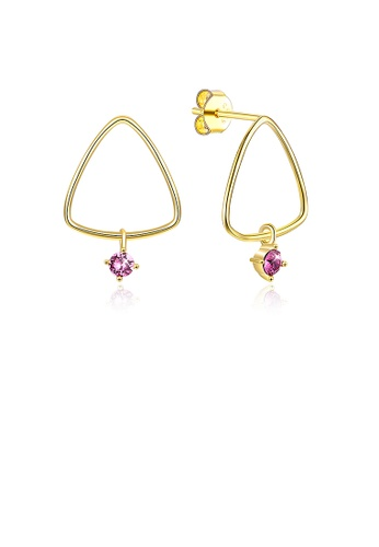 Glamorousky purple 925 Sterling Silver Gold Plated Fashion Simple Geometric Triangle Earrings and Ear Studs with Purple Austrian Element Crystal A1CB3ACD0F5373GS_1