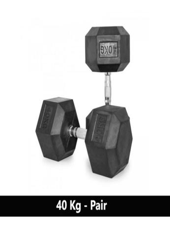 LIVE UP AND LIVE PRO. black Liveup Rubber Hexagonal Dumbbells - 40Kg (Sold as Pairs) BA55ESEDFBD0A9GS_1