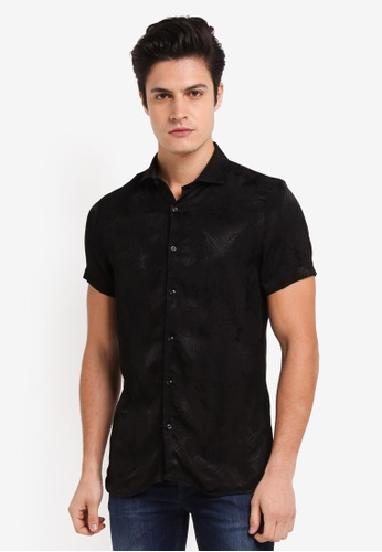 Burton Menswear London black Black Feather Print Short Sleeve Shirt 3E69AAA0F22754GS_1