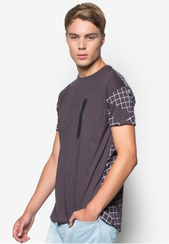 Men's Oversized Tee with esprit服飾Checkered Back Print, 韓系時尚, 梳妝