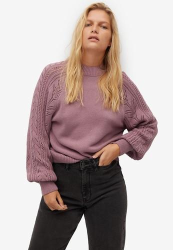 Violeta by MANGO purple Plus Size Openwork Katun  Sweater E19AFAAEFAB277GS_1