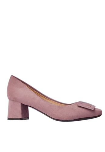 Twenty Eight Shoes 5cm尖頭方扣絨面高踭鞋1270-15 A87AESH4826A55GS_1