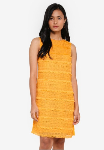 Dorothy Perkins yellow Fringed Lace Shift Dress 49D43AA1752AAEGS_1