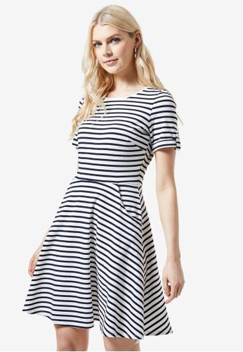 Dorothy Perkins white Navy Stripe T-Shirt Dress F28B5AA9E321A7GS_1