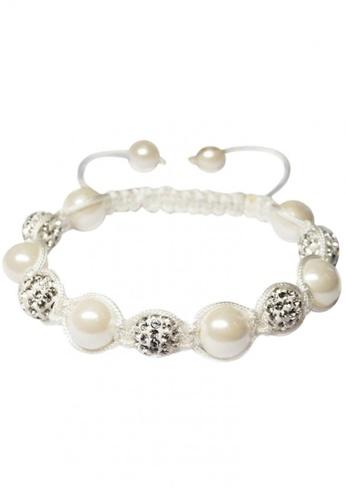 Her Jewellery white and beige Shamballa Pearl Bracelet (White) HE581AC0RAK3MY_1