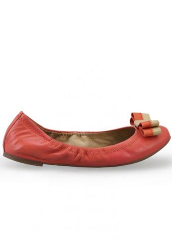 Shu Talk orange Nappa Round Toe Ballet Flats With Bow SH617SH2USCSHK_1