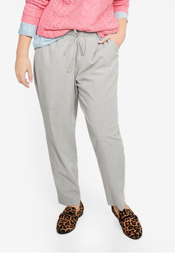 Violeta by MANGO grey Plus Size Striped Baggy Trousers CB11CAA533C27DGS_1