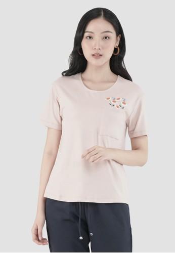 MISSISSIPPI pink Mississippi Kaos Wanita Lengan Pendek Bordir LIN000006M Peach B463FAAE83FD43GS_1