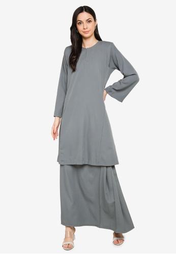 Butik Sireh Pinang grey Baju Kurung Pahang Salimah B8F37AAFB64029GS_1