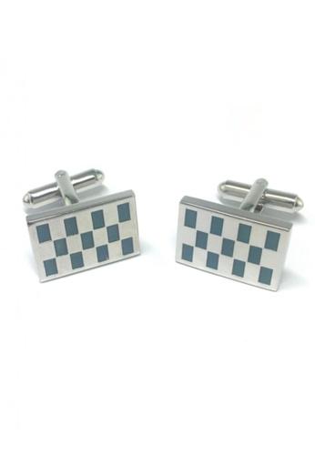 Splice Cufflinks blue and silver Blue Rectangle Checked Rectangular Cufflinks  SP744AC50EMZSG_1