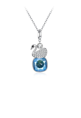 Glamorousky white 925 Sterling Silver Elegant Swan Geometric Pendant with Blue Austrian Element Crystal and Necklace 5BC67AC489B89BGS_1