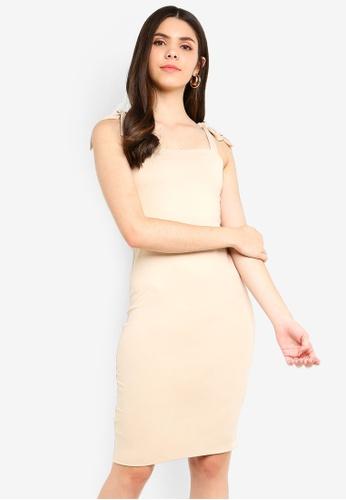 Supre brown Luxe Tie Strap Bodycon Dress 6D857AA54036BFGS_1