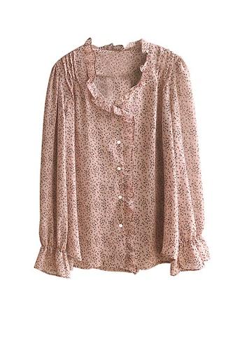 Twenty Eight Shoes pink VANSA Floral Print Long Sleeves Blouse VCW-Bs669 17F45AAC5C1FDEGS_1