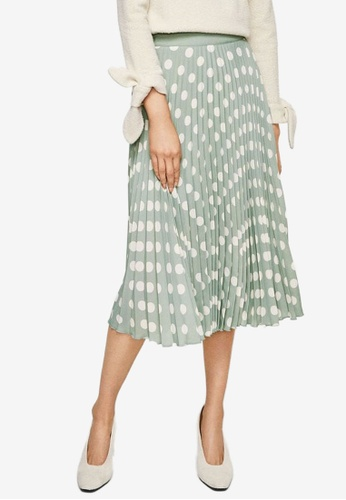 Mango green Printed Pleated Skirt 13653AA76C3472GS_1