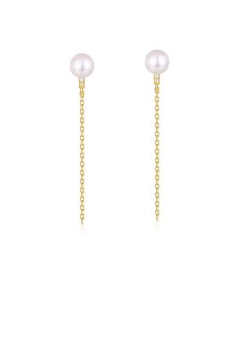SUNSET 金色 Premium 925 Sliver Pearl Earring BC0D9AC53241B3GS_1
