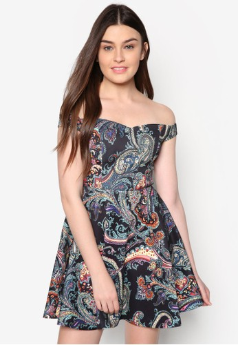 Lozalora時尚購物網的koumi koumive 印花露肩連身裙, 服飾, 夏日洋裝