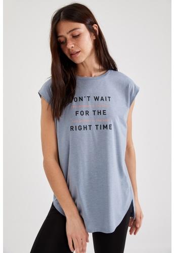 DeFacto blue Woman Athleisure Short Sleeve Knitted T-Shirt 47E27AABD65AA8GS_1